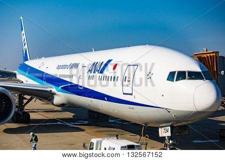 NAGOYA, JAPAN - JANUARY 7, 2016: Aircrafts ANA at Chubu Centrair International Airport.