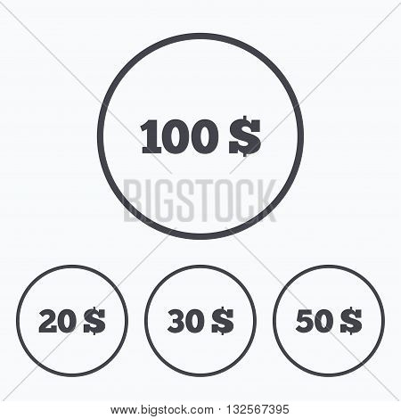 Money in Dollars icons. 100, 20, 30 and 50 USD symbols. Money signs Icons in circles.