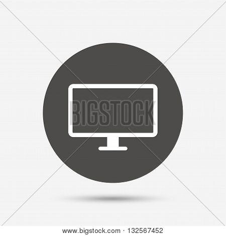 Computer widescreen monitor sign icon. Gray circle button with icon. Vector