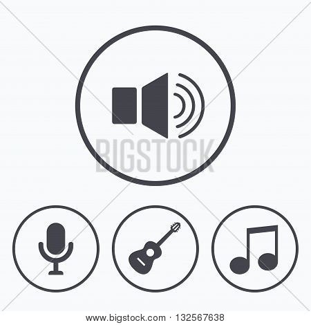 Musical elements icons. Microphone and Sound speaker symbols. Music note and acoustic guitar signs. Icons in circles.