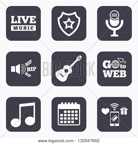 Mobile payments, wifi and calendar icons. Musical elements icons. Microphone and Live music symbols. Music note and acoustic guitar signs. Go to web symbol.