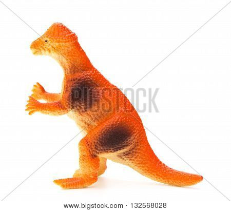 side view orange pachycephalosaurus on a white background