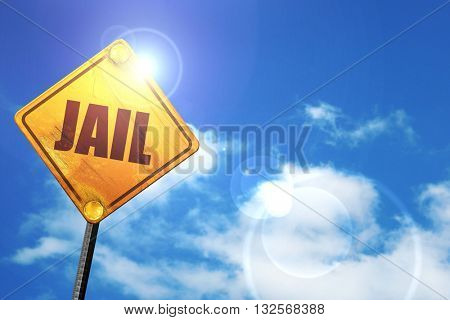 jail, 3D rendering, glowing yellow traffic sign