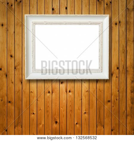 Blank photo frame on vintage wood Background. White frame in vintage Style. Wooden Surface old wooden plank.