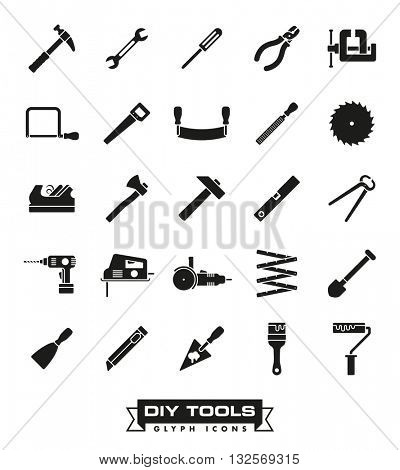 Do it yourself and workshop tools icon set. Collection of DIY and crafting tool vector glyph icons