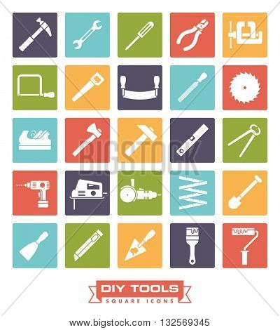 Do it yourself tools icon set. Collection of DIY and crafting tool vector icons in colored circles