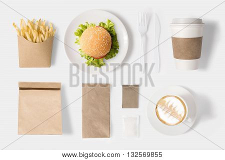 Design Concept Of Mock Up Burger And Coffee Set On White Background. Copy Space For Text And Logo