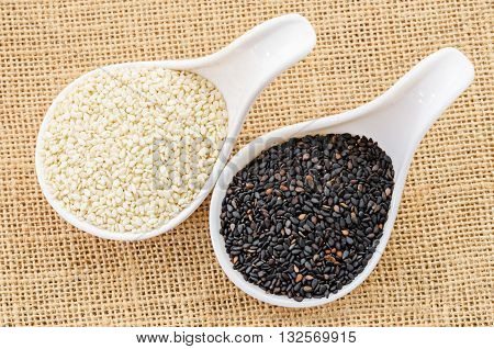 White sesame and black sesame seeds in white spoon.