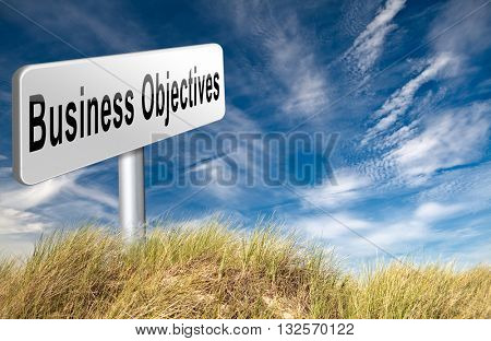Business Objectives firm statement on vision, mission, values and strategies and strategy planning of a company or business 3D illustration