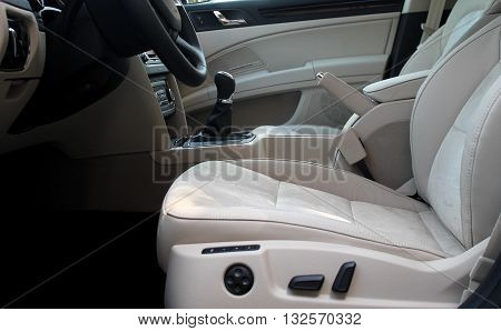 White leather on seats in car interior