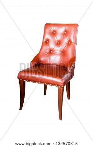 Brown leather chair isolated on white with clipping path