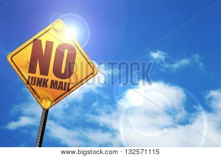 no junk mail, 3D rendering, glowing yellow traffic sign