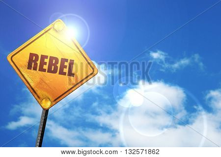 rebel, 3D rendering, glowing yellow traffic sign