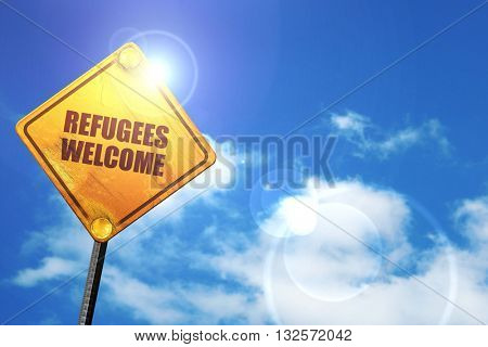 refugees welcome, 3D rendering, glowing yellow traffic sign