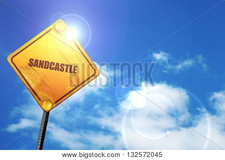 sandcastle, 3D rendering, glowing yellow traffic sign