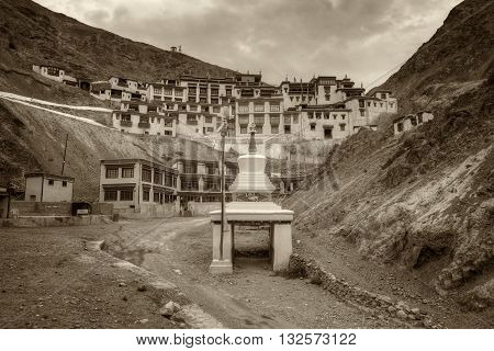 Beautiful Rizong monastery with view of Himalayan mountians - it is a famous Buddhist temple inLeh Ladakh Jammu and Kashmir India. Nice sepia tone