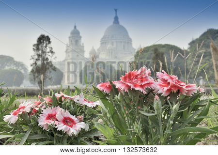 Flowers and Victoria Memorial Kolkata India . A Historical Monument of Indian Architecture. It was built between 1906 and 1921 to commemorate Queen Victoria's 25 years reign in India.