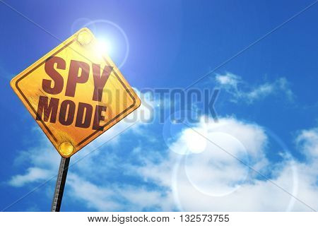 spy mode, 3D rendering, glowing yellow traffic sign