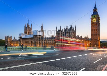 Big Ben and Westminster Bridge in London at dusk, UK