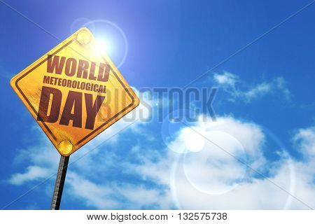 world meteorological day, 3D rendering, glowing yellow traffic s