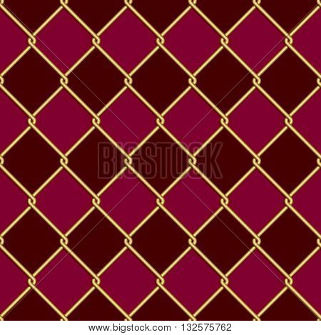 Gold wire grid seamless pattern on dark red and purple rhomboids background