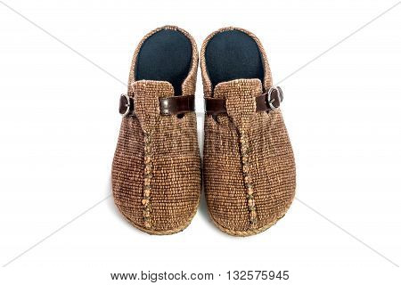 Brown Slippers Isolated On White Background