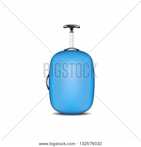 Travel suitcase in blue design on white background