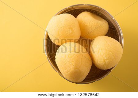 Rajbhog or Bengali Rasgulla or Cham Cham in a bowl .