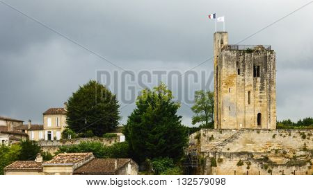 View of King's Tower and the surrounding building in St. Emilion, France