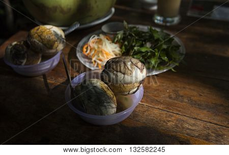 Balut (boiled developing duck embryo) in Hoi An, Vietnam. This is a special cuisine in Asia countries. It once appeared on Fear Factor series as