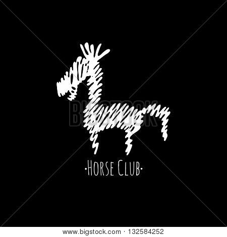 Horse silhouette on black background. Horse club logotype. Horse line logo.