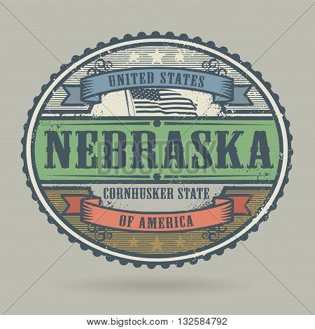 Vintage stamp or label with the text United States of America, Nebraska, vector illustration