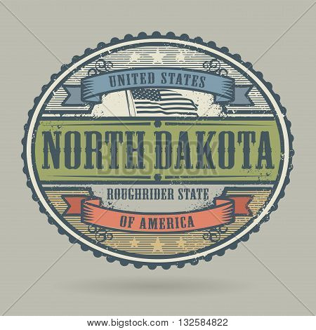 Vintage stamp or label with the text United States of America, North Dakota, vector illustration
