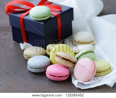 multicolored French almond cookies macaroons romantic dessert