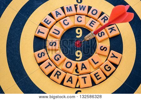 dart target on bullseye with success goals teamwork strategy words Goal target success business investment financial strategy concept abstract background