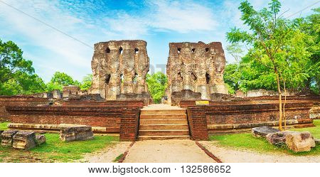 Royal Palace of King Parakramabahu in the world heritage city Polonnaruwa, Sri Lanka. Panorama