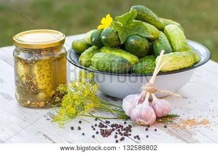 Ripe cucumbers in metal bowl spices for pickling and jar pickled cucumbers on old wooden white table in garden on sunny day food and nutrition