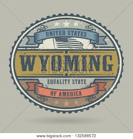 Vintage stamp or label with the text United States of America, Wyoming, vector illustration