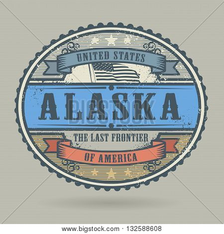 Vintage stamp or label with the text United States of America, Alaska, vector illustration