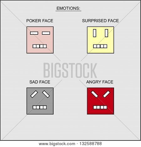 Vector Image emotions using individual square face