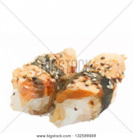 Low poly illustration fresh eel sushi isolated on white background
