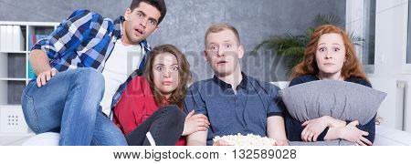 Terrified People On Couch