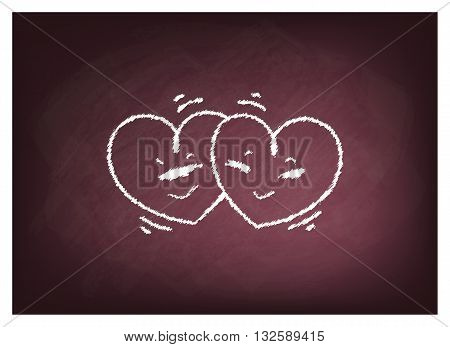 Love Concept Illustration of Two Cute Hearts on Chalkboard Background.