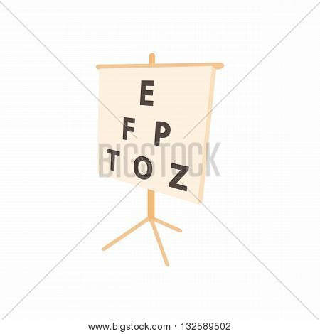 White placard with letters eyesight testing icon in cartoon style on a white background