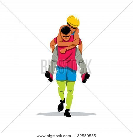 Man carries his girlfriend on his back isolated on a white background