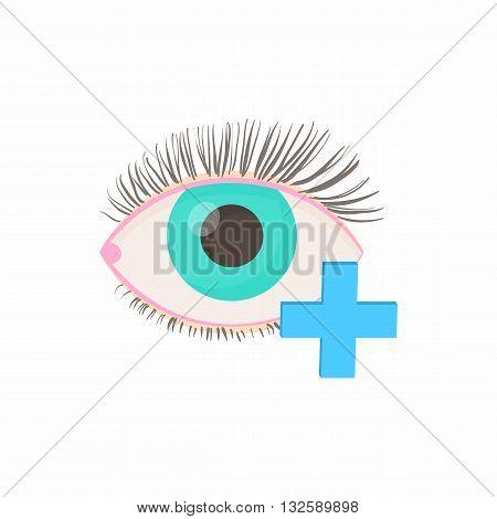 Hyperopia eyesight disorder icon in cartoon style on a white background