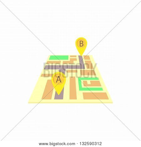 Map with the taxi route icon in cartoon style on a white background