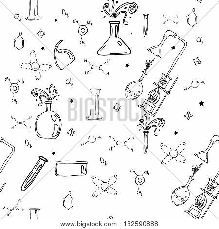 Vector seamless pattern with hand drawn glass flasks. Uncolored bottles.