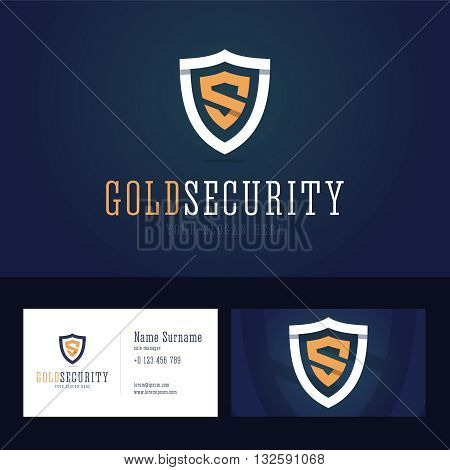 Gold security logo and business card template. Shield sign in line, flat style with overlapping effect. Vector illustration.