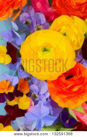 Low poly illustration Fresh Flowers Background - ranunculus, pansies and hortensia